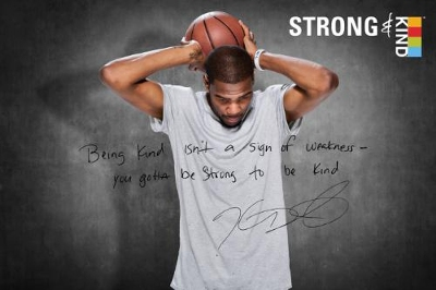 "KIND Healthy Snacks (KIND) and NBA star Kevin Durant unveil movement to show it's strong to be kind(TM). Partnership looks to change perceptions of strength and kindness, and to rally Americans to stand up. ""Being kind isn't a sign of weakness - you gotta be strong to be kind,"" says Durant. (Photo courtesy of KIND Healthy Snacks)"